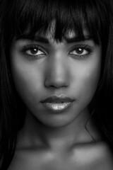 Anouradha (Erik de Klerck) Tags: anouradha portrait portret headshot closeup blackandwhite black white face beauty beautifull eyes dark skin young woman female girl lips samyang samyang135mmf20edumc 135mm nikon d800 studio flash strobist