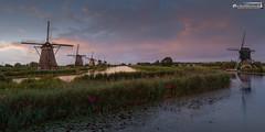 Kinderdijk on a summer's evening (dieLeuchtturms) Tags: zuidholland windmühle meer europa sonnenuntergang niederlande 2x1 panorama wasserspiegelung polder kinderdijk europe waterreflections nederlands reflection sea sunset waterreflection windmill nl