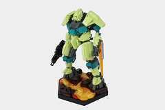 AR-137 (thebrickbin) Tags: lego moc afol mech mecha space sci fi science fiction gundam lava ar137 ariel brickheadz spring yellowish green blade gun hexagon base hex volcano dark turquoise teal