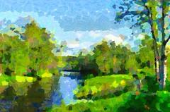 Sunny day... (Kalev Vask.) Tags: kalevvask postprocessed painterly topazstudio mediachance ownphoto summer estonia river trees clouds