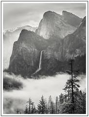 Clearing Storm - II (adam_pierz) Tags: bridalveilfalls yosemite blackandwhite monochrome mountains mist fog clouds olympusomd micro43 microfourthirds cathedralspires