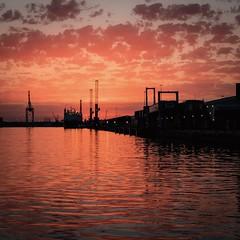 Sunset on Southampton water (steveh011) Tags: sea ocean hour golden dusk working water landscape seascape llens f4 70200 6d canon dslr shadow glow orange docks southampton sunset