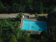 Private pool | P2250813 (mkreibohm) Tags: schweiz swizerland tessin ticino locarno pool person man old cyan water rectangle trees lush vegetation plants road aerial view street micro43 microfourthirds olympus olympusem1omd house modern architecture reflections ripples swimming swim swimmer summer