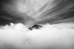 Engulfed in clouds (Rico the noob) Tags: 2018 d850 landscape nature mountains outdoor 2470mmf28 clouds published sky monochrome travel tenerife dof 2470mm blackandwhite bw teneriffa snow mountain