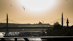 from one bridge to another / a city to love (Özgür Gürgey) Tags: 2016 24120mm d750 goldenhorn haliç nikon birds boat bridge mosque silhouettes sky sun towers istanbul cityscape 169