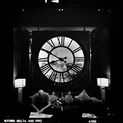 China Town Bangkok, Shanghai Mansion Reception Clock (Matt Jones (Krasang)) Tags: shanghai mansion reception clock black white fuji gf670 ilford delta 400 hc110 bangkok china town thailand