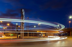 Ferry Lane at Blue Hour (Alan Dell) Tags: bluehour landscape urban nightphotography cartrails lighttrails longexposure roundabout rainham essex havering sculpture installation