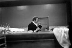 011471 21 (ndpa / s. lundeen, archivist) Tags: nick dewolf nickdewolf blackwhite blackandwhite 35mm film photographbynickdewolf bw january 1971 1970s boston massachusetts party socialaffair socialevent socialengagement socializing blacktieaffair trainstation trainstationlobby lobby waitingroom terminal privateevent people fundraiser backbay backbaytrainstation champagneball southendhistoricalsociety flowers door man stationmaster stationmastersdoor