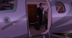 Boarding (Marck Quicksand) Tags: hair argrace akatsuki – blacks sunglasses s o r g vader shades outfit treized designs elegance suit men luggage ta travel airplane dani airplanes d100