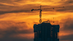 Turbulance, Edmonton (WherezJeff) Tags: alberta canada potain silhouette edmonton edm yeg crane construction md365bl16 towercrane