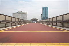 ariake-1894-ps-w (pw-pix) Tags: red walkway path elevated bridge overpass pedestrian pedestrians man walking yellow lines markings tactiles railings handrails walls sides windows glass fences screens barriers tokyobaywashingtonhotel tokyobigsight ariakefrontierbuilding sky clouds hazy overcast ariake kotoku tokyo tokyoto japan peterwilliams pwpix wwwpwpixstudio pwpixstudio