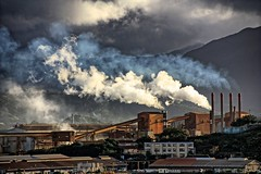 Industry. (Ian Ramsay Photographics) Tags: noumea newcaledonia industry industrialised day breaks reveals heavy wheels thick smoke billows chimney stacks