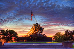 US Marine Corps War (Iwo Jima) Memorial sunrise (paint filter) (cmfgu) Tags: arlington arlingtoncounty virginia va usa us unitedstatesofamerica american northernvirginia sunrise dawn twilight goldenhour clouds sky colorful usmarinecorpswarmemorial iwojimamemorial usmc arlingtonridgepark mountsuribachi battleofiwojima worldwarii wwii joerosenthal sculpture statue flag hdr highdynamicrange underpainting paintfilter craigfildesfineartamericacom fineartamericacom craigfildespixelscom craigfildesphotography artist artistic photograph photo picture prints art wall canvasprint framedprint acrylicprint metalprint woodprint greetingcard throwpillow duvetcover totebag showercurtain phonecase mug yogamat fleeceblanket spiralnotebook sale sell buy purchase gift