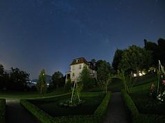 In a garden at Night (ramvogel) Tags: sony a6300 samyang 8mm luzern night milkyway garden house stars longexposure fisheye switzerland