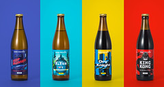 Identification session of regional beer. (yeloow.pl) Tags: beer glasses bottle color commercial pentax product photography studio yellow red blue background identification light reflection brand logo yeloow colorful