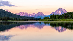 Oxbow Bend Pastel Sunrise (kencphoto) Tags: clouds gtnp grandteton grandtetonnationalpark mountains mtmoran nationalpark oxbowbend reflection river snakeriver sunrise trees water sky