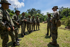 "U.S.Marine Capt. Shane Robinette and Lt. Umar with 22nd Royal Malaysian Army Regiment explain how to run through the Jungle Point-man Training Course (#PACOM) Tags: 3rdmarinedivision iiimef foxcompany2ndbattalion3rdmarines carat2018 malaysia my ""usindopacificcommand usindopacom"""