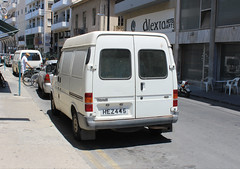 Older Ford Transit. (steve vallance coach and bus) Tags: hez445 fordtransit larnaca cyprus