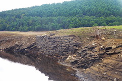 Ruins of Derwent Village, Ladybower    August 2018 (dave_attrill) Tags: derwent village ladybower reservoir ruins low water brickwork stonework site august 2018 bamford peak district derbyshire sky landscape tree mountain river