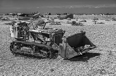 Things Left Behind (18) (Dungeness)-03265 (G.K.Jnr.) Tags: landscape foliage vegetation boat transport tractor deserted dilapidation discarded seaside beach shingle outdoor sky building architecture scenic interest touristattraction monochrome bw blackandwhite blackwhitephotos rural dungeness romneymarsh kent unitedkingdom fujix apsc xt1