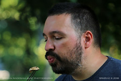 A kiss for the mushroom (srkirad) Tags: portrait male man beard moustage friend grilled grill outdoor barbecue mushroom kiss bokeh blur background dof depthoffield