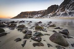 Unstad beach (Lukasz Lukomski) Tags: unstad beach landscape norway lofoten archipelago island nikond7200 sigma1020 longexposure rocks mountains snow winter sea arctic