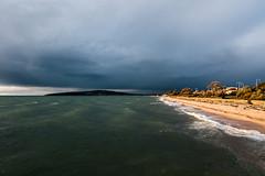 Lit Up (OzGFK) Tags: australia dromana beach water ocean sea portphillipbay clouds cloudy cold winter nikon d90 sunset golden glow morningtonpeninsula windy stormy