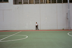 """where's everybody"" (hugo poon - one day in my life) Tags: rollei35s film kodakportra400 hongkong wanchai southornplayground student schoolboy lonely alone empty solitude melancholy colours waiting"