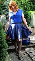 Front of Garden (Amber :-)) Tags: navy satin skater skirt tgirl transvestite crossdressing