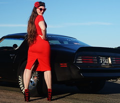 Holly_9191 (Fast an' Bulbous) Tags: classic american car vehicle muscle automobile pontiac transam girl woman hot sexy chick babe red wiggle dress high heels stockings nylons people outdoor sky santa pod nikon