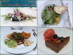Festtagsessen- festive meal (Anke knipst) Tags: geburtstag 90 essen birthday meal schokokuchen eissorbet salat kroketten rehkeule spitzkohl kartoffelgratin