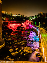 Colored Milky River (sergent.chose) Tags: night olympusm714mmf28128pro nightshot centreville dam longexposure sherbrooke m43 sherbylove barrageabénaquis olympus colors μ43 omdem1mll magogriver rivièremagog downtown