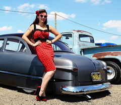 Holly_2182 (Fast an' Bulbous) Tags: classic custom car vehicle automobile people outdoor pinup model girl woman hot sexy chick babe long brunette hair red dress high heels stockings nylons