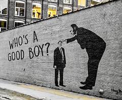 WHO'S A GOOD BOY? 👊 🍊 👎 (anokarina) Tags: 🎨 brooklynheights newyork nyc newyorkcity gotham gothamist appleiphonese streetart mural graffiti political protest city urban street wall dumptrump trumptreason papaputin instagram colorsplash yellow adobephotoshopexpress psmobile