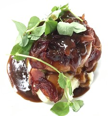 3808 Saugage and champ with red onion sauce and pea shoots (Andy - Busy Bob) Tags: ccc champ coantrim fff food ggg glenariff gravy laraghlodge lll meal mmm nireland ooo photostream redonion restaurant rrr sausage ulster uuu