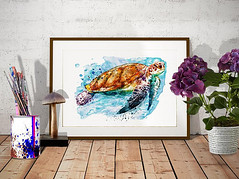 Sea Turtle (marianv2014) Tags: seaturtle watercolor wallart watercolorpainting aquarelle seaanimal seaanimals seaturtles wildlife underwater splashes swim shell orange blue reptile reptiles walldecor turtleposter turtleart roomdecor artistic decor colorful interiordesign decorative artgifts affordableart splatters creatures watercolorposter wildlifedecor beautiful illustration artwork art animal whitebackground contemporary wild zoology single
