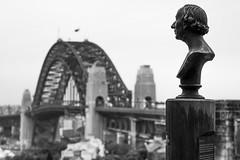 sydney (autrant) Tags: sydney sydneyharbourbridge sydneyobservatory statue city bridge bw