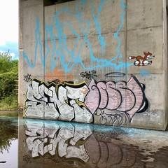 'Rocket Fox' (grahamzzzz) Tags: reflection fireextinguisher northdevon graffiti streetart maumau