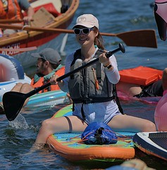 Paddler (Scott 97006) Tags: woman female lady float raft paddle river water board