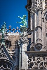 Church Statues (shiftdnb) Tags: nikond3s hdr summer sidetrip nikon statue d3s belgium brussels church eurotrip gargoyle europe fx nikonfx