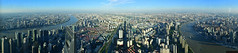 Panorama of Pudong, shoot from Shanghai Tower Observatory, 546 m, Obserwatorium, Stiched, Lujiazui