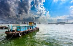 Dramatic Skies (miltonpics) Tags: asia boat hongkong kowloon olympic ship transport sea water clouds cranes crane