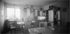 Ghost, Reader, Breakfast / Duch, Czytacz, Śniadanie (Piotr Skiba) Tags: pinhole bw noon fomapan400 monochrome film poland pl piotrskiba kitchen meal breakfast