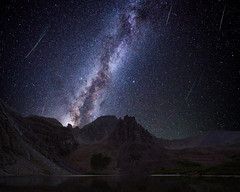 Perseid Meteor Shower at Cathedral Lake (Matt Payne Photography) Tags: elkmountains colorado night nightscape milkyway perseidmeteorshower sonya7r2 cathedrallake cathedralpeak 13er meteors