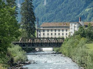 LIN230 SBB Railroad Bridge over the Linth River, Rueti, Canton of Glarus, Switzerland