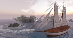 Sailboat Approaching The Shores of Fairhaven (Roxy River) Tags: sailboat landscape secondlife