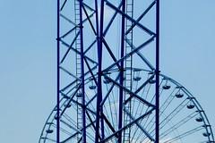 - - - blue wheel - - - (christikren) Tags: prater austria abstract blue christikren geometry himmel linescurves sky view lookup ferriswheel fun panasonic flickr vergnügungspark clouds wien lines blueazul