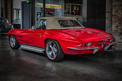 CORVETTE STINGRAY CONVERTIBLE WITH SIDEPIPES - REAR VIEW (Peter's HDR hobby pictures) Tags: petershdrstudio hdr corvette corvettestingray convertible classiccar car klassiker auto red rot oldtimer cabriolet