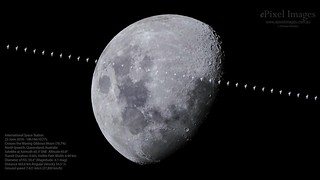 The International Space Station transits across the Waxing Gibbous Moon over North Ipswich, Queensland, Australia in the early evening of 23 June 2018.