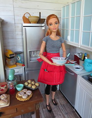 Making blueberry muffins (Foxy Belle) Tags: doll kitchen bakery white lap board country barbie dollhouse playscale 16 scale kenmore stainless wood floow made move
